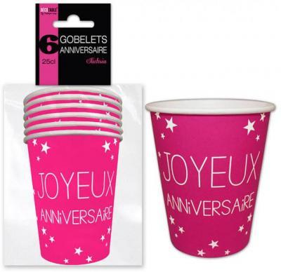 Gobelet joyeux anniversaire fuchsia (x6) REF/GB25CL00F