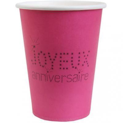 Gobelet joyeux anniversaire fuchsia (x10) REF/4006