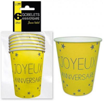 Gobelet joyeux anniversaire jaune (x6) REF/GB25CL00J
