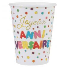 Gobelet Joyeux Anniversaire multicolore 27cl (x10) REF/7225