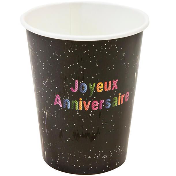 Gobelet joyeux anniversaire noir multicolore en carton