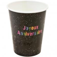 Gobelet joyeux anniversaire noir (x6) REF/AA2004CH/GB