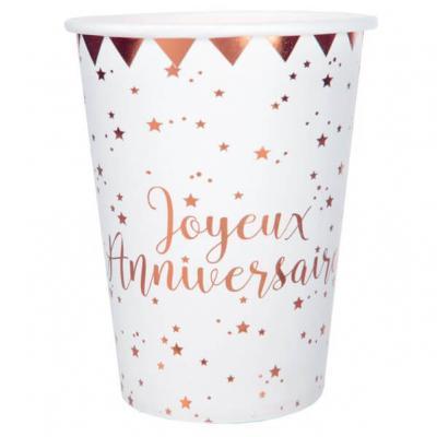 Gobelet joyeux anniversaire rose gold et blanc (x10) REF/5669