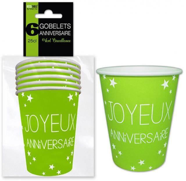 Gobelet joyeux anniversaire vert 3