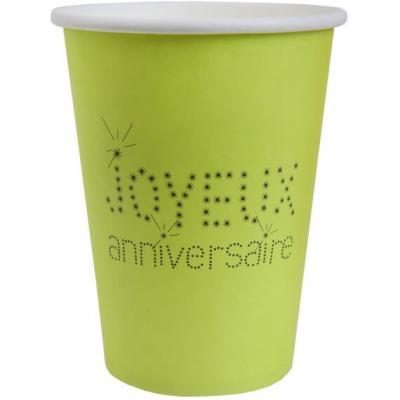 Gobelet joyeux anniversaire vert (x10) REF/4006