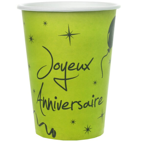 Gobelet joyeux anniversaire vert et noir