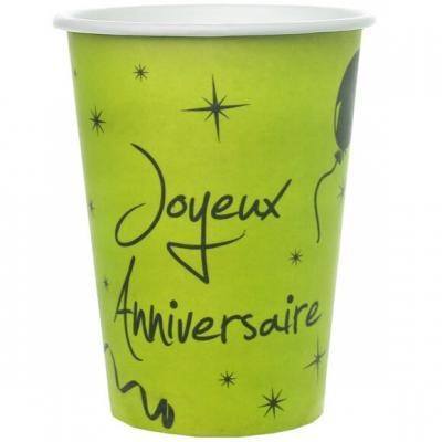 Gobelet joyeux anniversaire vert et noir (x10) REF/4793