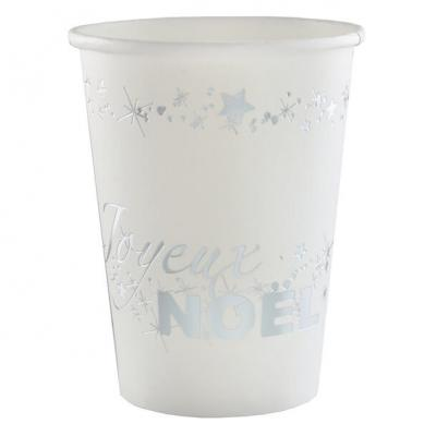 Gobelet joyeux noël argent et blanc (x10) REF/5887