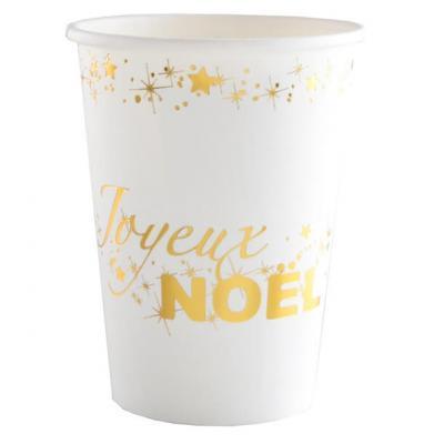 Gobelet joyeux noël or et blanc (x10) REF/5887