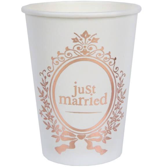 Gobelet mariage just married blanc et rose gold metallique