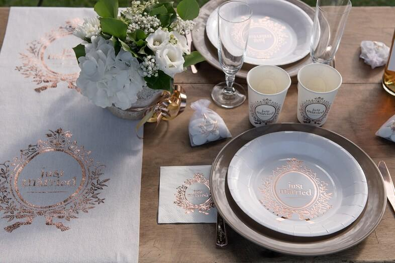 Gobelet mariage just married blanc rose gold metallique