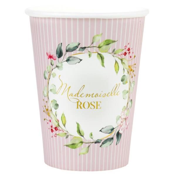 Gobelet rose baby shower fille mademoiselle rose