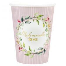 Gobelet Baby Shower rose pour fille avec des fleurs décoratives (x10) REF/7310