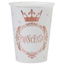 Gobelet anniversaire Princesse blanc et rose gold de 27cl (x10) REF/7244