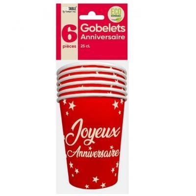 Gobelet rouge joyeux anniversaire en matière carton (x6) REF/GB2500R