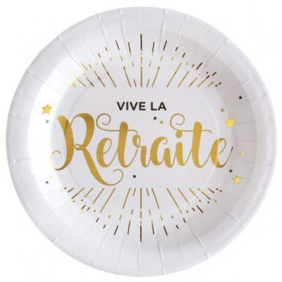 Assiette vive la retraite blanche et or (x10) REF/5660