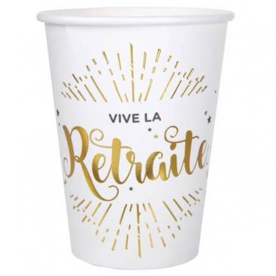 Gobelet vive la retraite blanc et or (x10) REF/5659