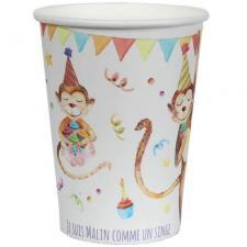 Gobelet anniversaire enfant zoo multicolore (x10) REF/6755