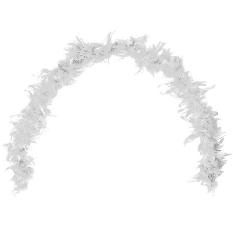 Grand boa blanc en plumes pour fete