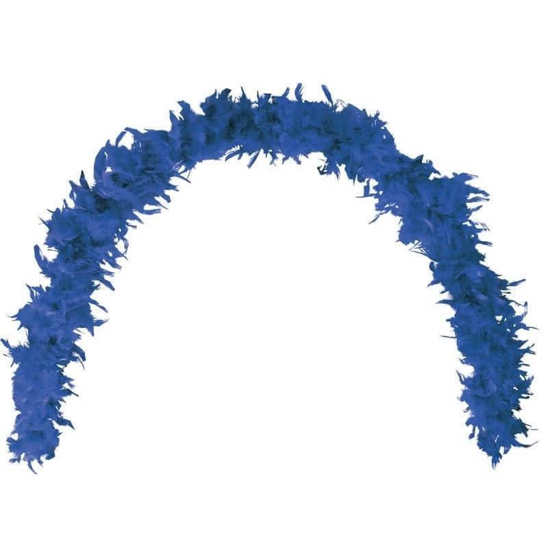 Grand boa bleu fonce en plumes pour fete
