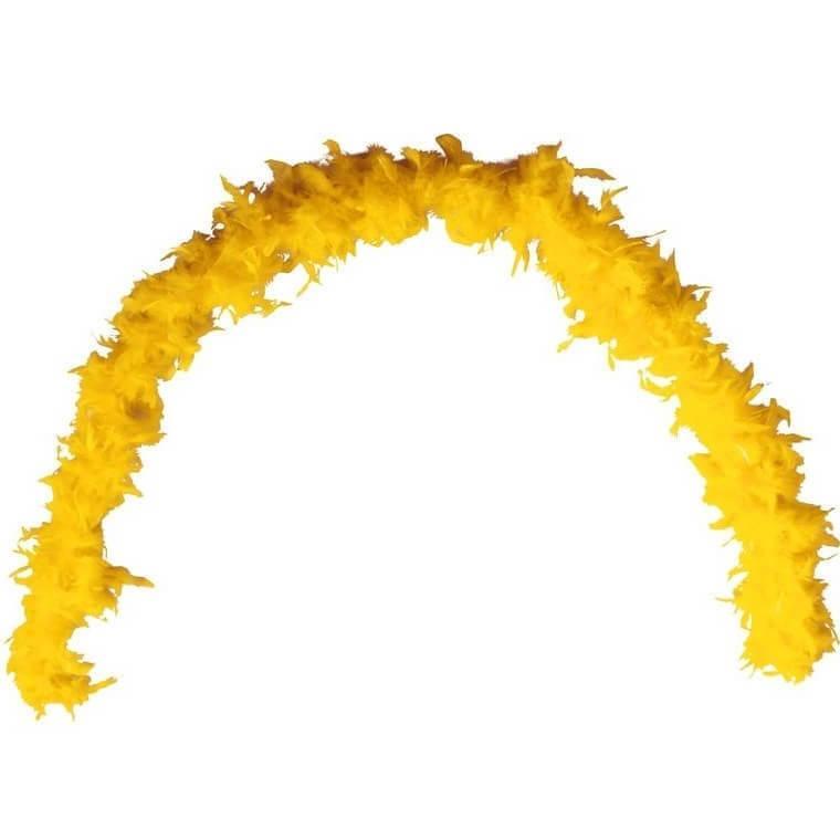 Grand boa jaune en plumes pour fete