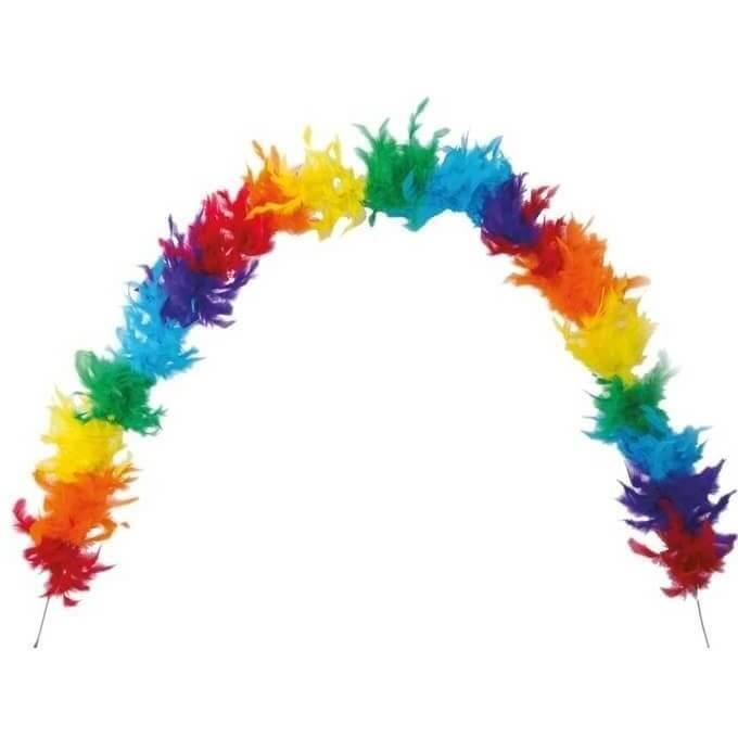 Grand boa multicolore en plumes pour fete