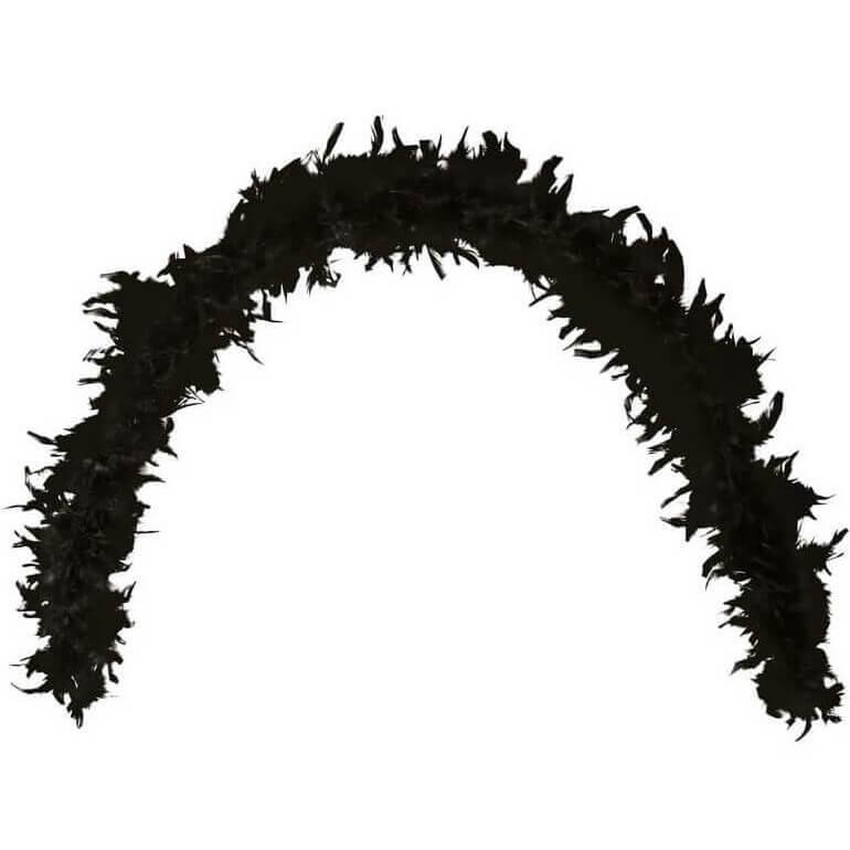 Grand boa noir en plumes pour fete