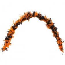 Grand Boa noir et orange en plumes pour votre fête de 180cm (x1) REF/10045