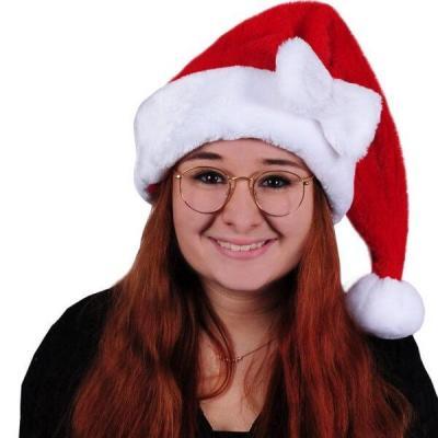Bonnet de Noël adulte blanc et rouge avec noeud décoratif (x1) REF/NDZ150