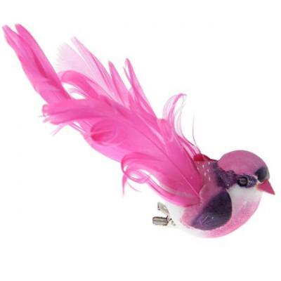 Grand oiseau fuchsia sur clip 12cm (x2) REF/3888