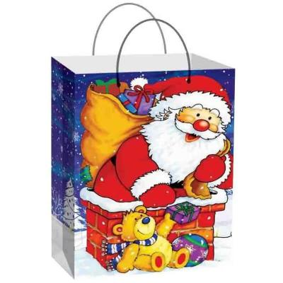 Grand sac cadeau avec père Noël sur la cheminée 44.5cm H. (x1) REF/SUH501