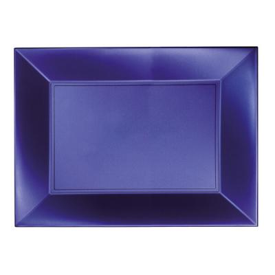 Grande assiette rectangle réutilisable bleu perlé 34.5 x 23cm (x3) REF/58055