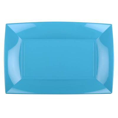 Grande assiette rectangle réutilisable bleu turquoise 34.5 x 23cm (x3) REF/58055