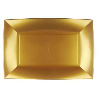 Grande assiette rectangle réutilisable dorée 34.5 x 23cm (x3) REF/68055