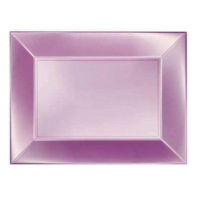 Grande assiette rectangle rose perlé incassable (x3) REF/58055