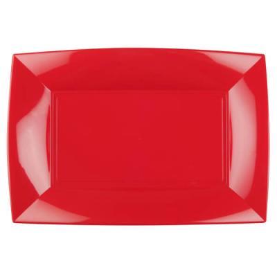 Grande assiette rectangle réutilisable rouge 34.5 x 23cm (x3) REF/58055