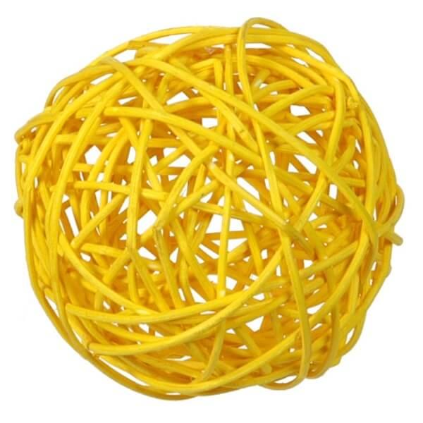 Grande boule de rotin jaune decorative