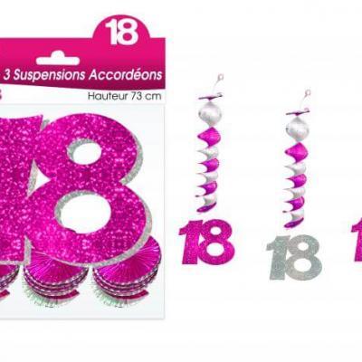 Guirlande accordéon anniversaire 18ans: Fuchsia (x3) REF/SAH01R