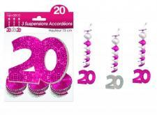 Guirlande accordéon anniversaire 20ans: Fuchsia (x3) REF/SAH02R