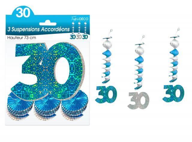 Guirlande accordeon anniversaire 30ans bleue