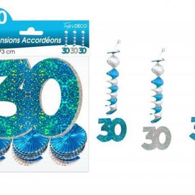 Guirlande accordéon anniversaire 30ans: Bleu (x3) REF/SAH03B