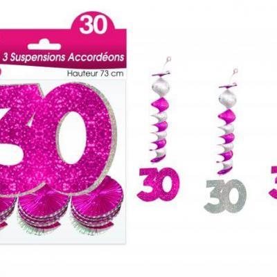 Guirlande accordéon anniversaire 30ans: Fuchsia (x3) REF/SAH03R