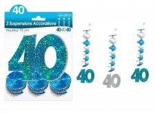 Guirlande accordéon anniversaire 40ans: Bleu (x3) REF/SAH04B