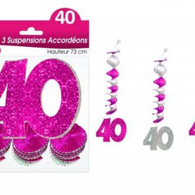Guirlande accordéon anniversaire 40ans: Fuchsia (x3) REF/SAH04R