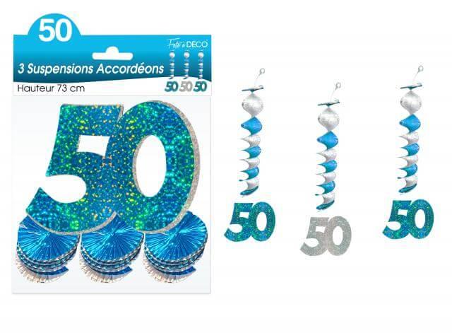 Guirlande accordeon anniversaire 50ans bleue