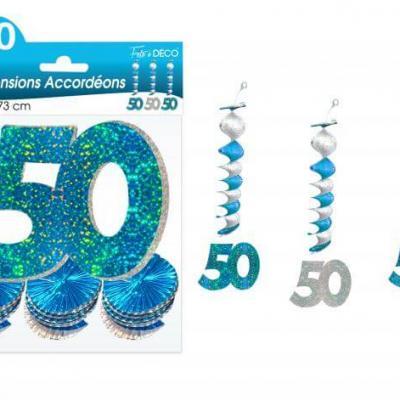 Guirlande accordéon anniversaire 50ans: Bleu (x3) REF/SAH05B