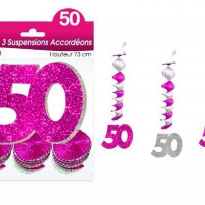 Guirlande accordéon anniversaire 50ans: Fuchsia (x3) REF/SAH05R