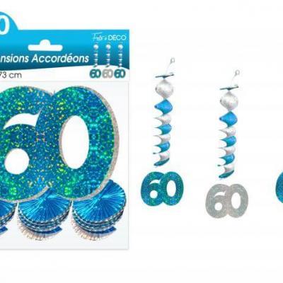 Guirlande accordéon anniversaire 60ans: Bleu (x3) REF/SAH06B