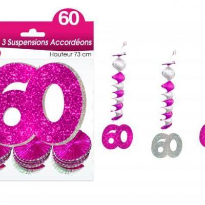 Guirlande accordéon anniversaire 60ans: Fuchsia (x3) REF/SAH06R