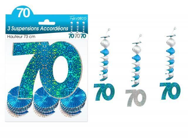Guirlande accordeon anniversaire 70ans bleue